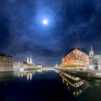 Фото бесплатно луна, Швейцария, ночной город