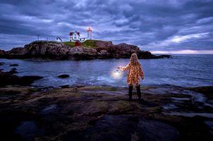 Бесплатные фото Мыс Неддик,штат Мэн,США,Nubble,Маяк Нуббл,Атлантический океан,скалы