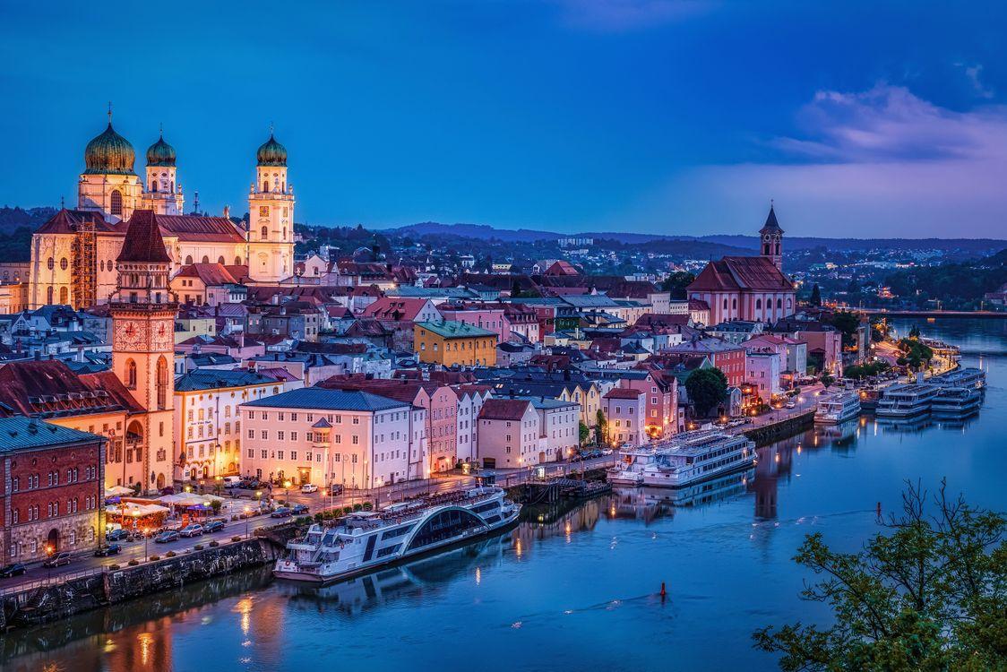 Фото бесплатно Пассау, Дунай, Bavaria, Германия, город, сумерки, дома - на рабочий стол