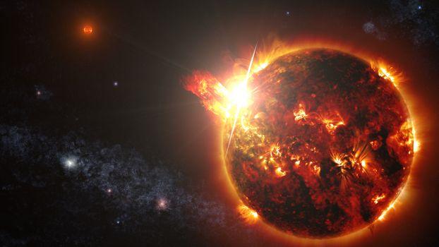 Заставки солнце, магма, выброс энергии