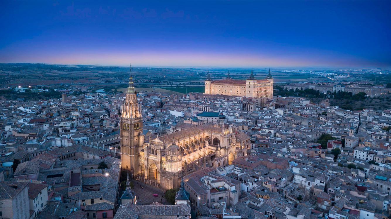 Фото бесплатно Toledo, Испания, ночной город, огни, фонари, город, панорама - на рабочий стол