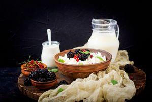 Бесплатные фото завтрак,творог,молоко,йогурт,ягоды