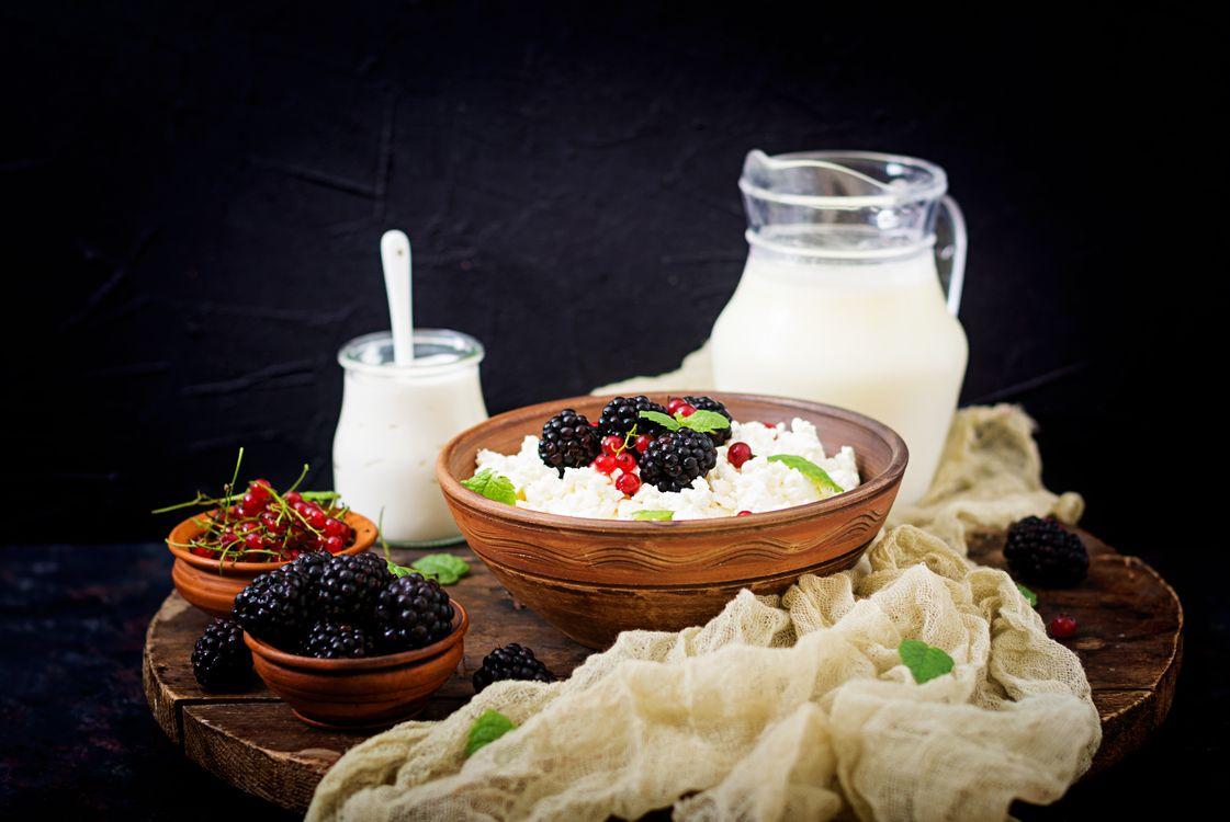 Фото бесплатно завтрак, творог, молоко - на рабочий стол