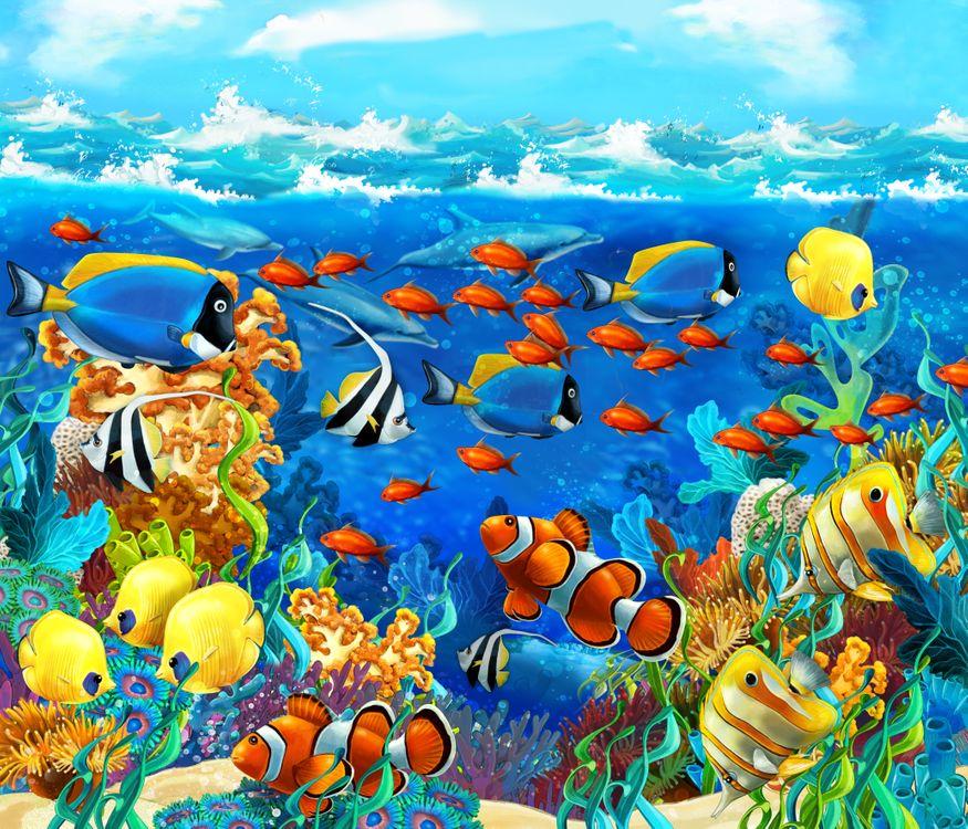 Обои море, рифы, рыбы, морское дно, art на телефон | картинки рендеринг