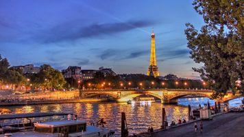 Заставки France, Seine River, сумерки