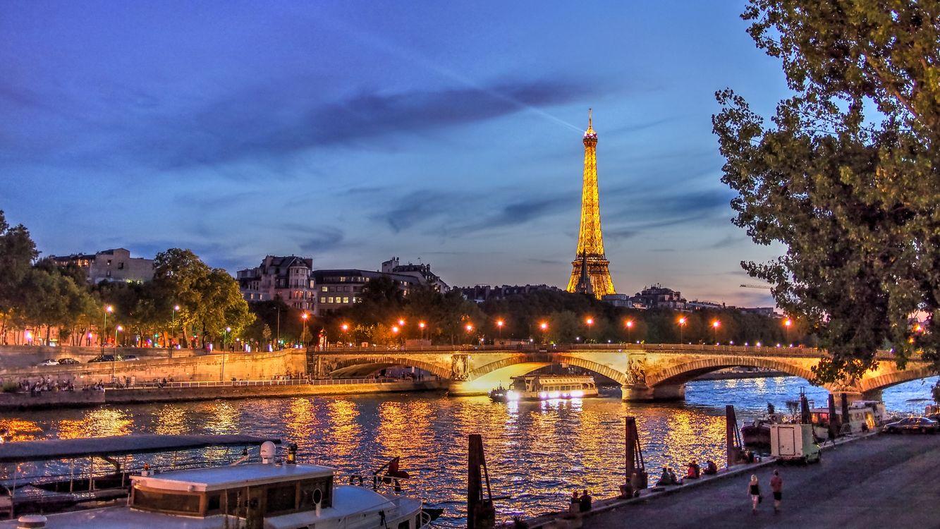 Фото бесплатно France, Seine River, сумерки - на рабочий стол