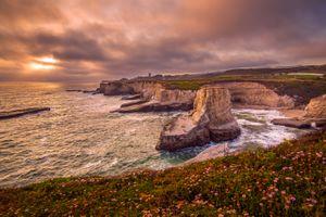Бесплатные фото Санта Круз,Калифорния,закат,солнца,море,берег,скалы