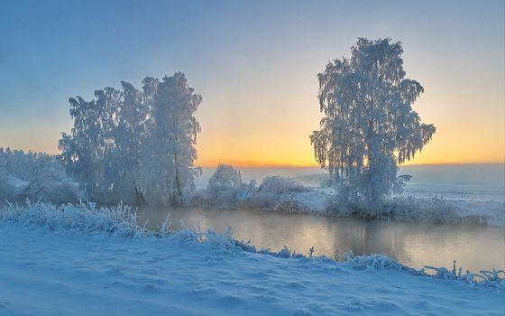 Бесплатные фото река,зима,деревья,иней,закат,пейзаж