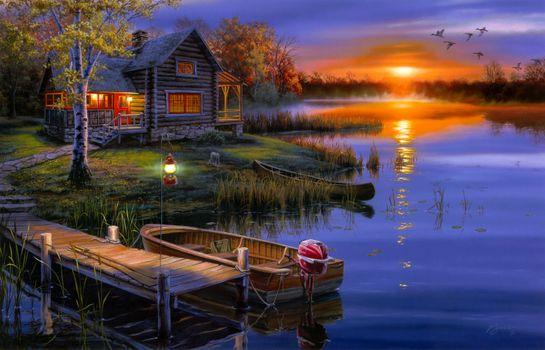 Фото бесплатно изобразительное искусство, ночь, река