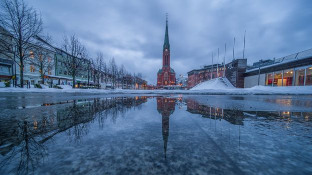 Photo free Arendal, Norway, a Reflection of the Trinity Church