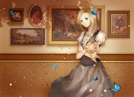 Фото бесплатно блондинка, аниме девушка, голубая бабочка