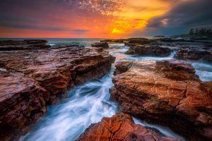 Бесплатные фото Киама,Новый Южный Уэльс,Австралия,море,закат,скалы,волны