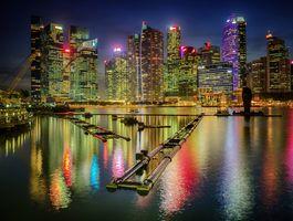 Бесплатные фото США,Дома,Причалы,Чикаго,город,Залив,Ночь
