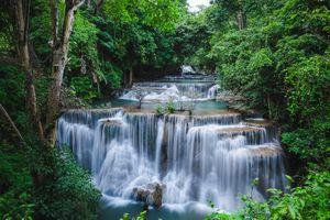 Заставки Канчанабури,Провинция Канчанабури,HuayMaeKhaminWaterfall,Huay mae kamin waterfall,Тропический лес,Таиланд,водопад