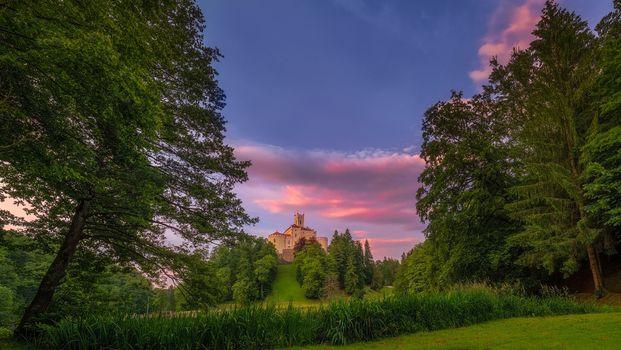 Фото бесплатно пейзаж, замок Тракоскан, закат