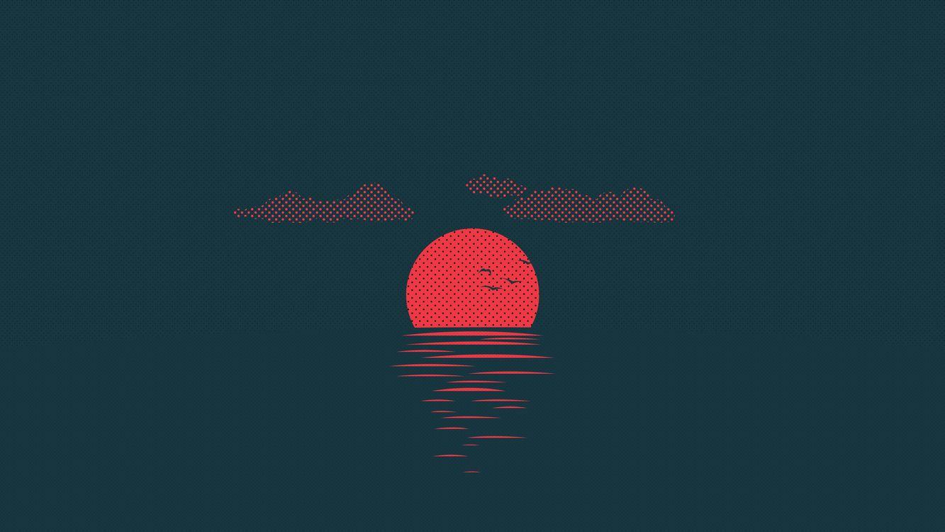 Фото бесплатно красное солнце, волны, птицы - на рабочий стол