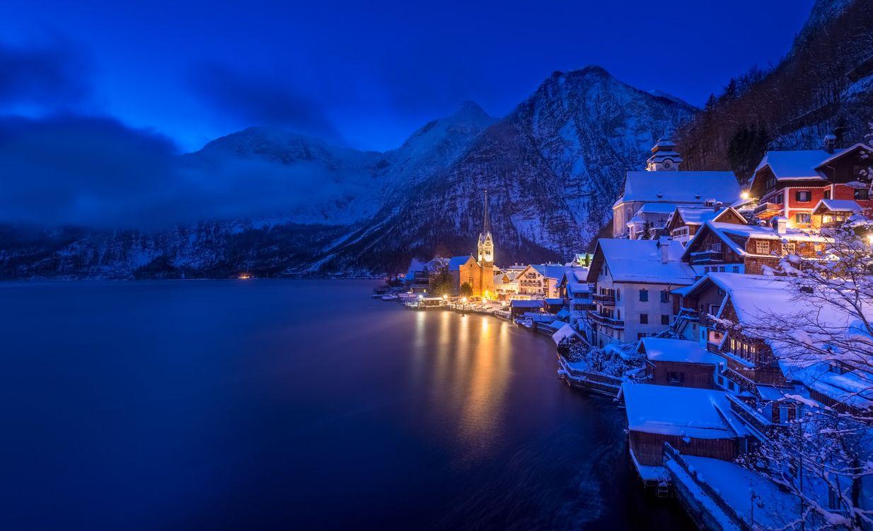 Фото бесплатно Blue Hour, Winter, Hallstatt - на рабочий стол