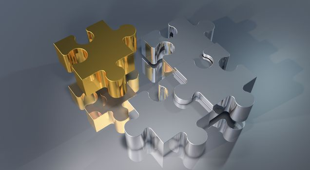 Золотые и серебристые пазлы