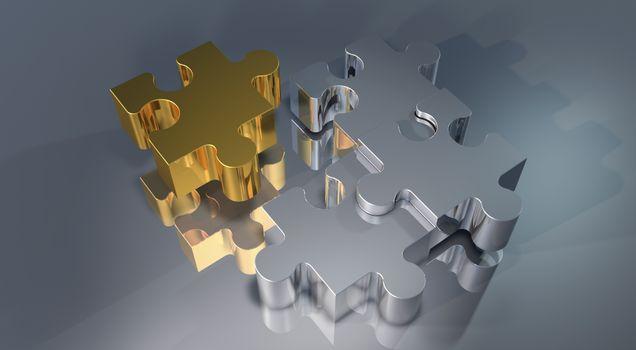 Золотые и серебристые пазлы · бесплатное фото