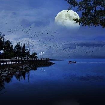 Photo free moon, sea, blue