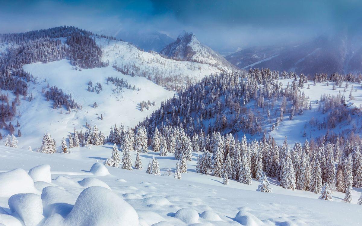 Фото бесплатно Австрия, зима, горы, снег, деревья, сугробы, природа, пейзаж, пейзажи
