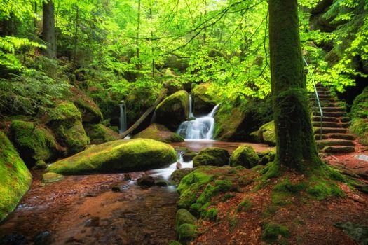 Фото бесплатно реку, ступени, водопад
