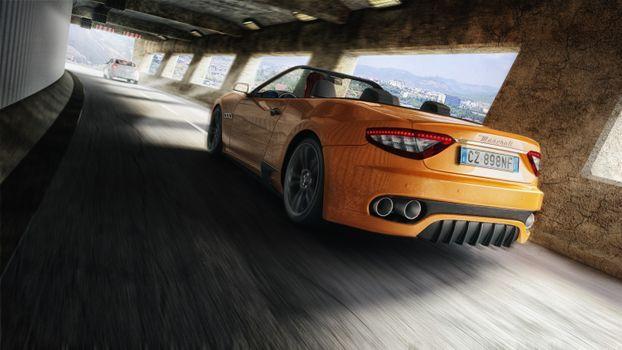 Yellow Maserati in the tunnel