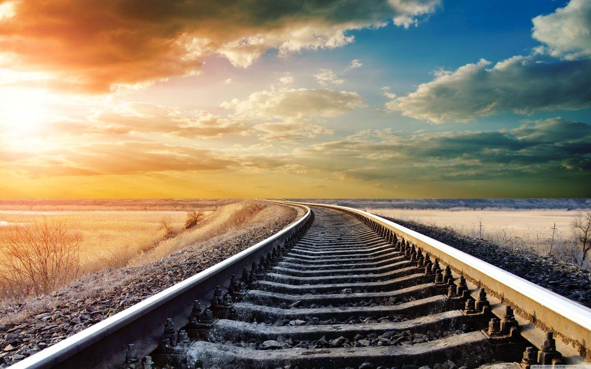 Фото бесплатно железная дорога, закат, зима - на рабочий стол