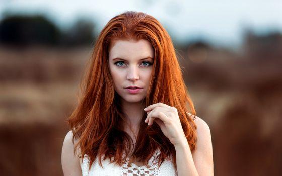 Бесплатные фото женщины,рыжие,голубые глаза,открытый рот,лицо,портрет,смотрит на зрителя,боке,Сонни буй
