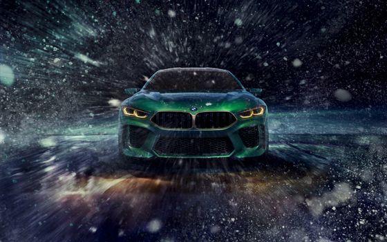 Заставки БМВ М8 гран купе, дизайн-концепция, зеленый, автомобили
