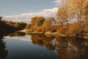 Заставки Река, осень, Деревья