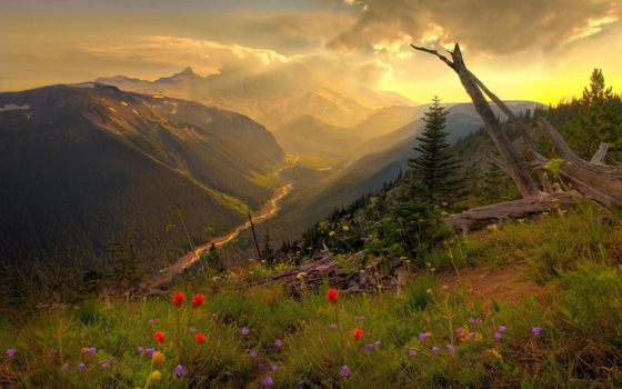 The river in the gorge and the sunset · free photo