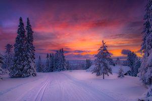 Заставки снег, дорога, Norway