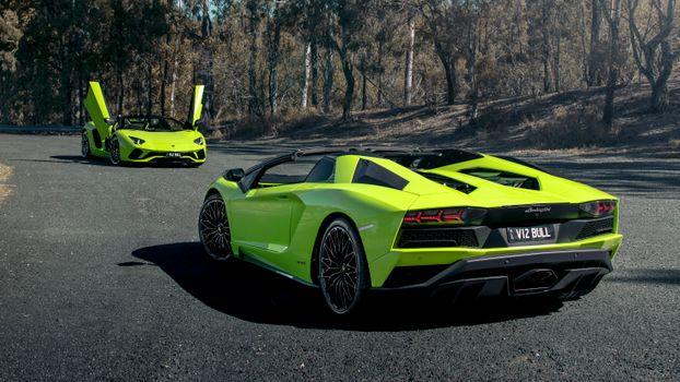 Заставки Lamborghini Aventador, две машины, кислотно-зеленый