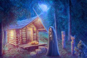 Бесплатные фото лесная избушка,девушка,лес,луна,лунный свет,деревья,тыквы