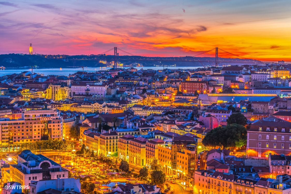Фото бесплатно Лиссабон, Португалия, город, ночь, огни, иллюминация, ночные города - на рабочий стол