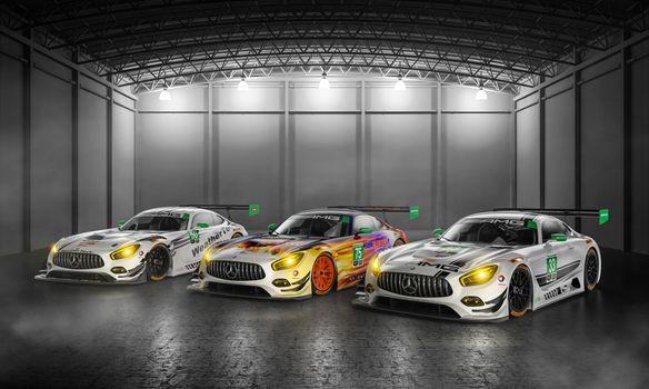 Заставки Mercedes Amg, 3 автомобиля, ангар