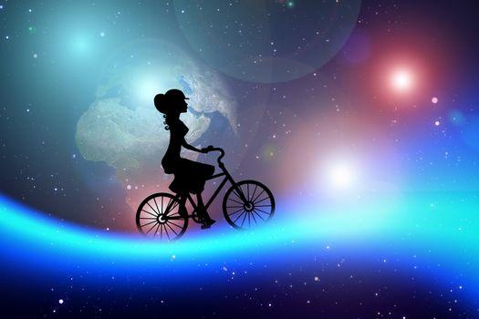 Фото бесплатно велосипед, женщина, космос