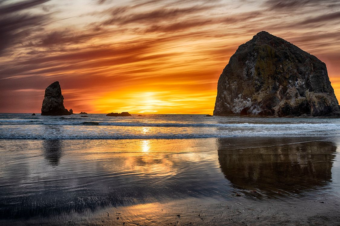Haystack Rock sunset · free photo