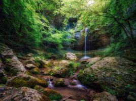 Фото бесплатно лес, водопад, скалы