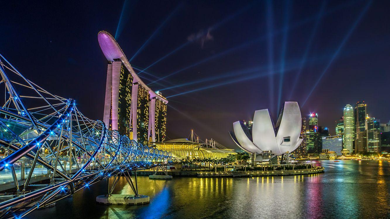 Фото бесплатно Марина Бэй Сэндс, Сингапур, горд, ночь, иллюминация, ночные города, город