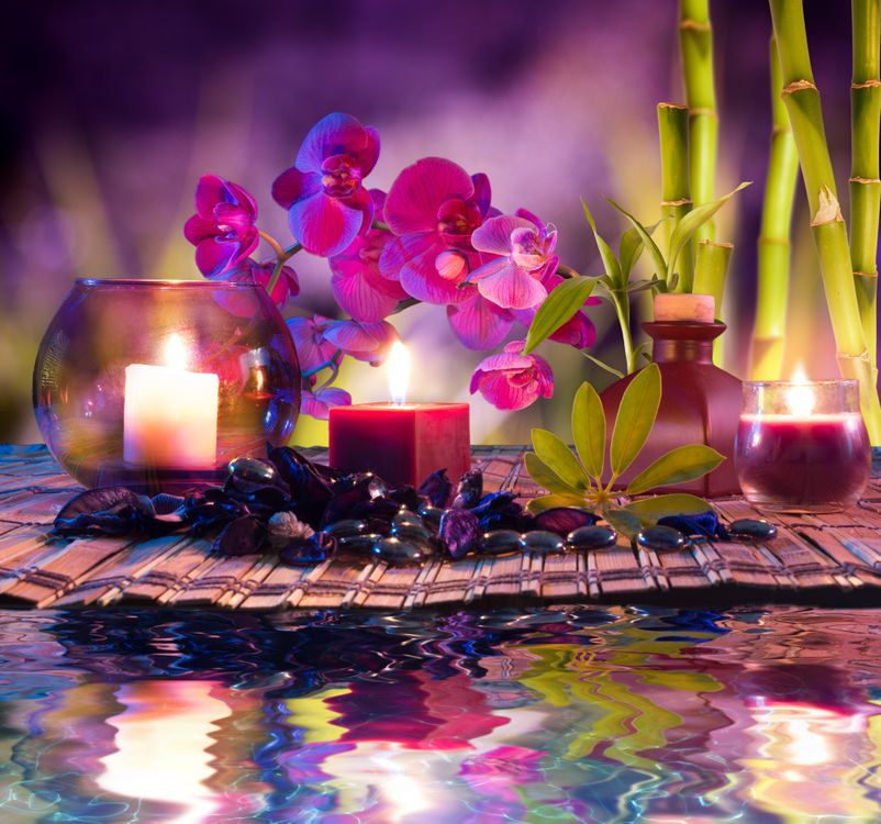Фото бесплатно массаж, романтик, свечи, камни, бамбук, огонь, пламя, цветы
