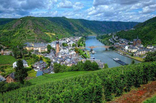 Бесплатные фото Cochem,Mosel Valley,Germany,Кохем-Мозельская Долина,Германия,Замки Мозеля,река,мост,город,пейзаж