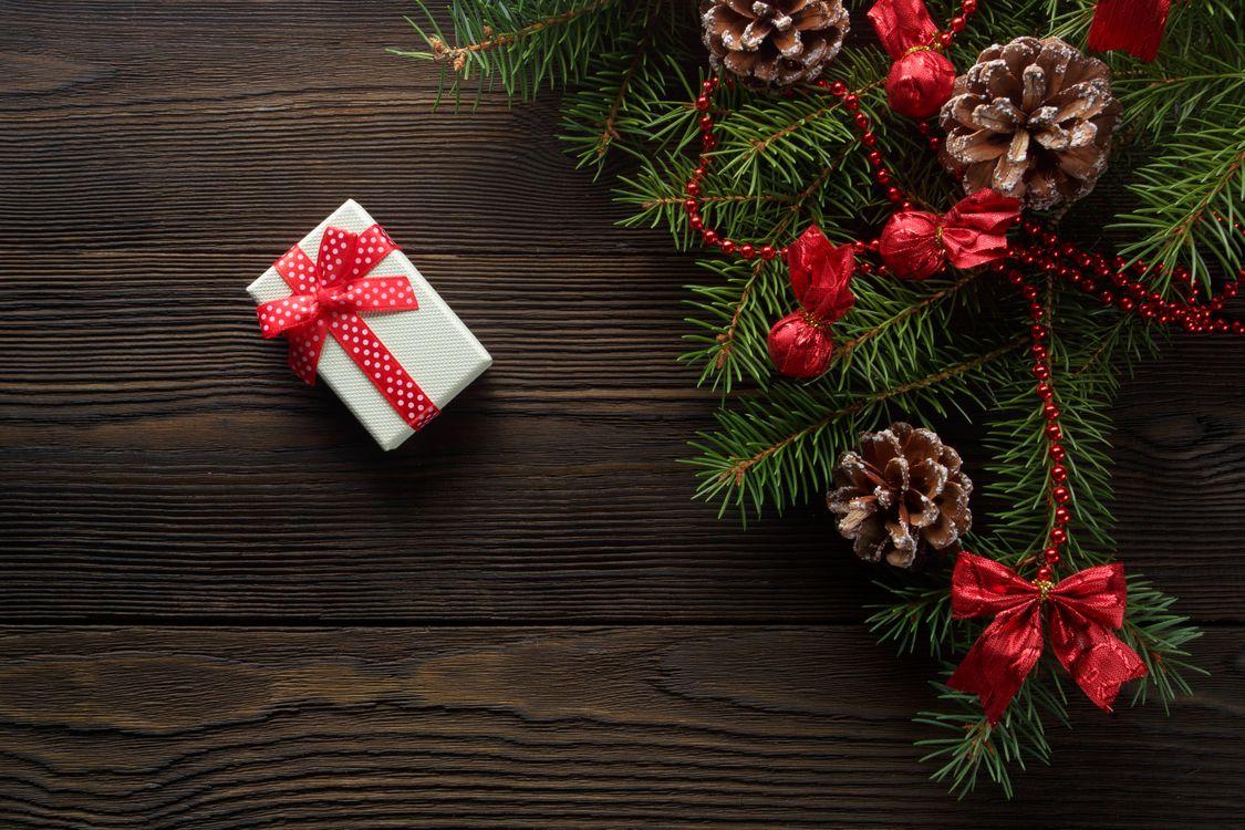 Фото бесплатно подарок, лента, декор, конверт, елка, сюрприз, под елкой, шишки, ветки, новый год