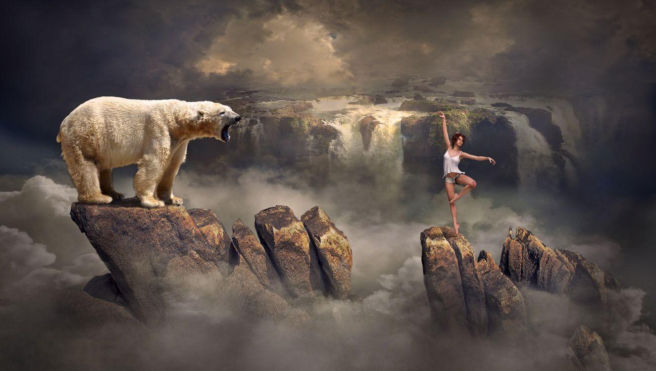 Фото бесплатно скалы, водопад, девушка, белый медведь, фэнтези, рендеринг