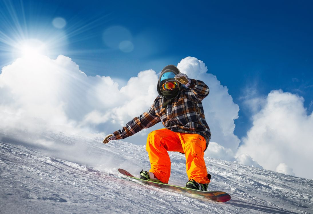 Фото бесплатно сноубординг, облака, зима - на рабочий стол