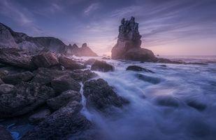 Бесплатные фото Кантабрия,море,закат,скалы,волны,берег,пейзаж