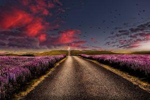 Бесплатные фото пейзаж,дорога,небо,облака,поле,цветы,домик