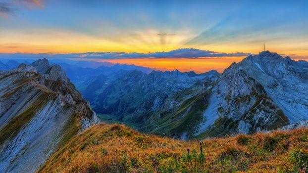 Photo free panorama, sunset, Switzerland