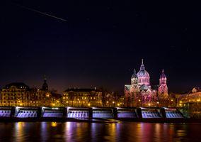 Фото бесплатно Церковь Святого Луки, освещение, Мюнхен